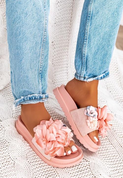 Klapki z Kwiatkami Różowe Fiorine