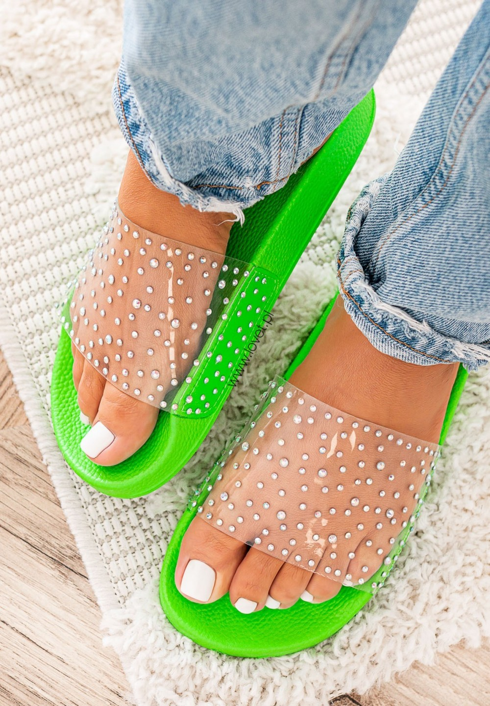 Klapki Klasyczne Neonowe Zielone Judie