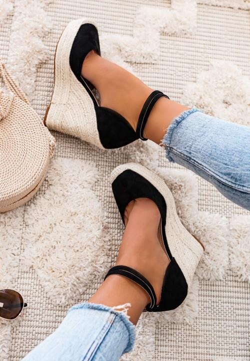 Sandały Espadryle na Koturnie Czarne Dayane