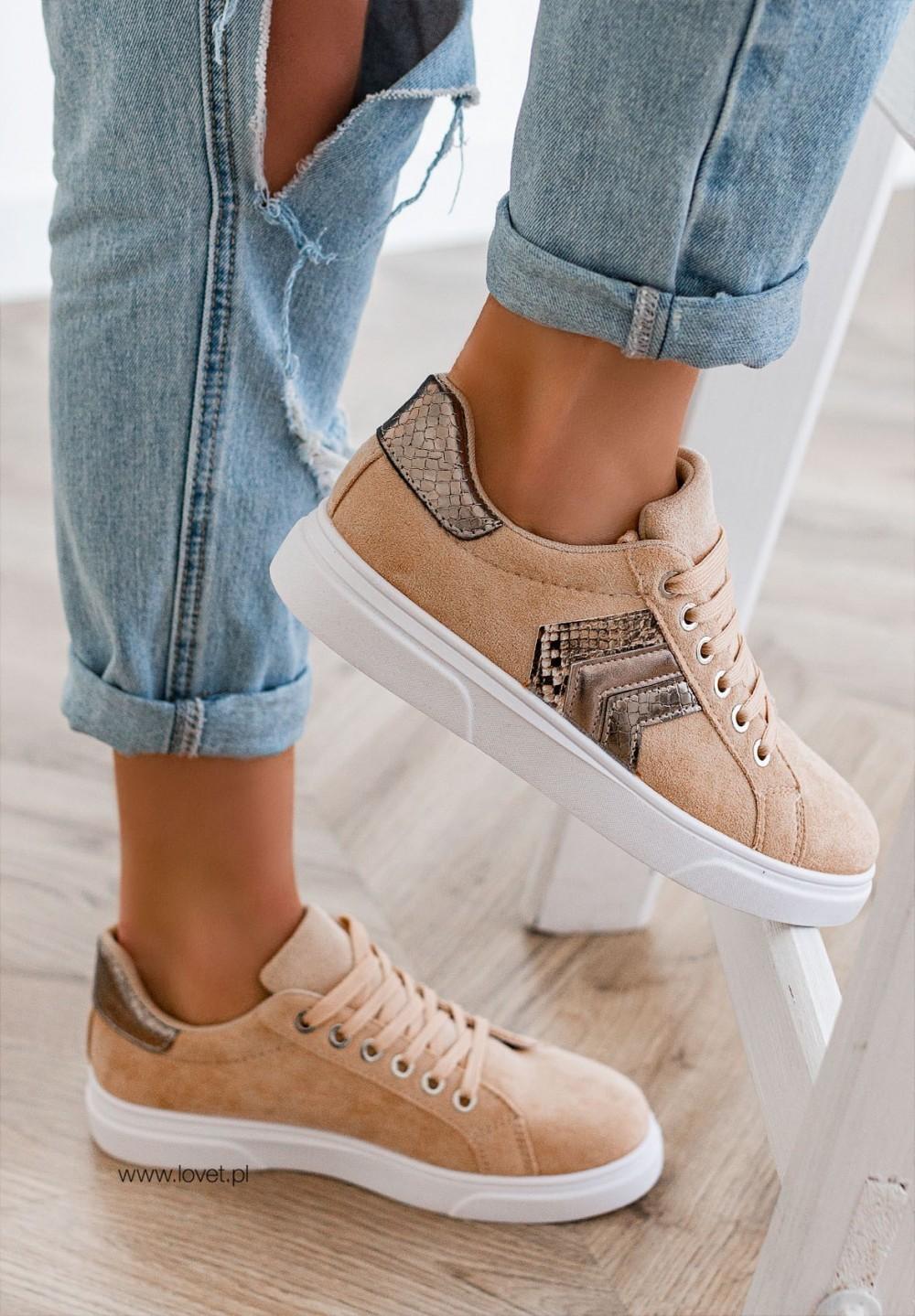 Trampki Sneakersy Beżowe Silven