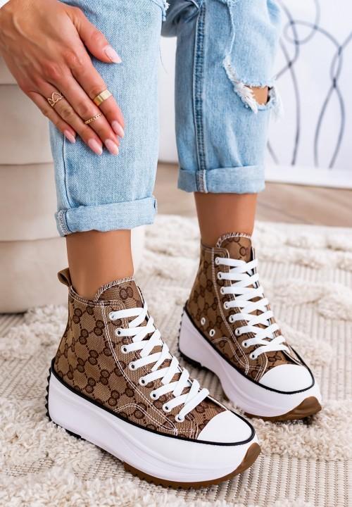 Trampki Sneakersy Wysokie Brązowe Felly