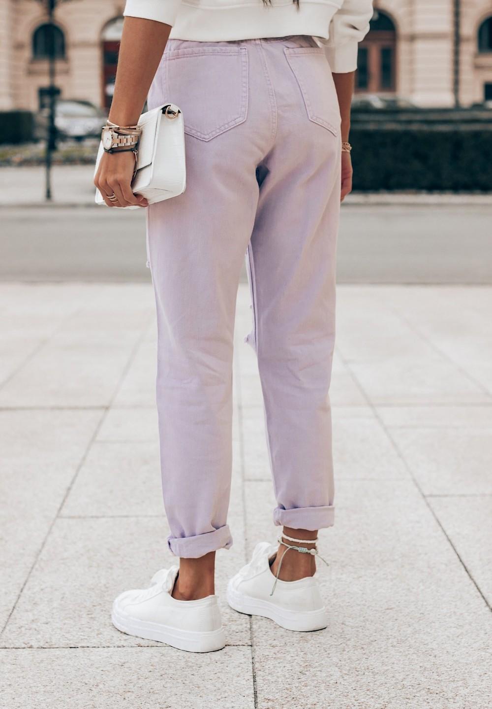 Spodnie Jeansy z Przetarciami Fioletowe Maya