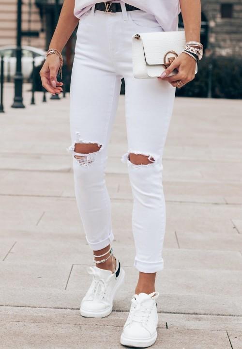 Spodnie Jeansowe z Dziurami Białe Verso