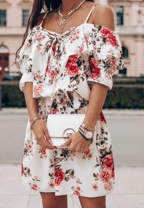 Sukienka Flower Biała Brenda