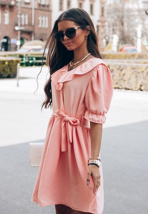Sukienka z Paskiem Różowa Week
