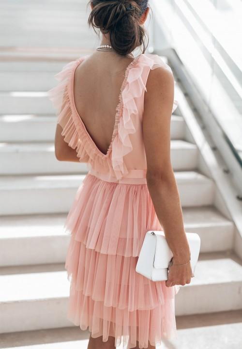 Sukienka Tiulowa Różowa Tone