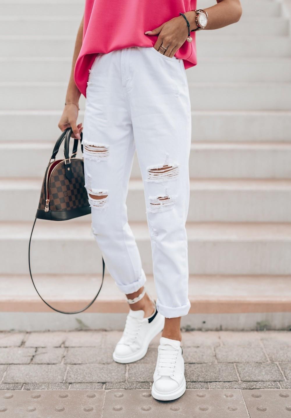 Spodnie Jeansy z Przetarciami Białe Maya