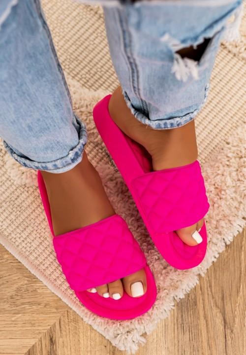 Klapki Klasyczne Gumowe Neonowe Różowe Lian