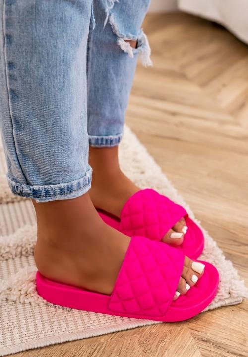 Klapki Pikowane Neonowe Różowe Lian