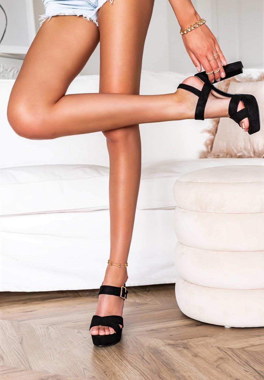 Sandały Na Słupku Czarne Irina