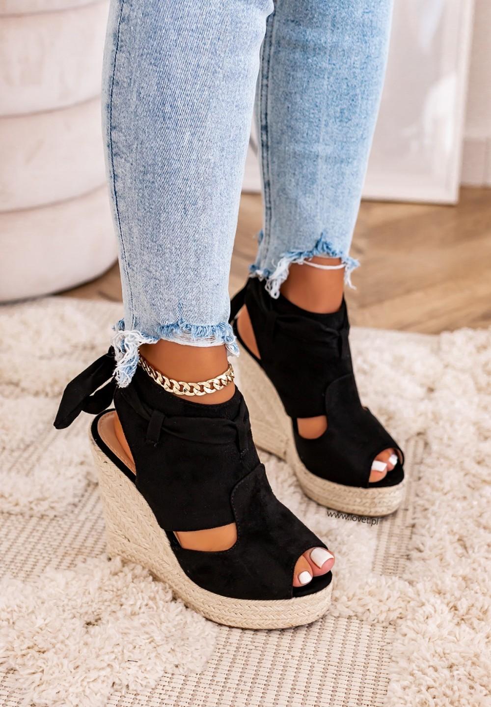 Sandały Espadryle Zamszowe Czarne Rovena