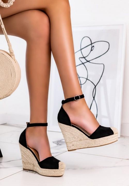 Sandały Espadryle Na Koturnie Zamszowe Czarne Essti