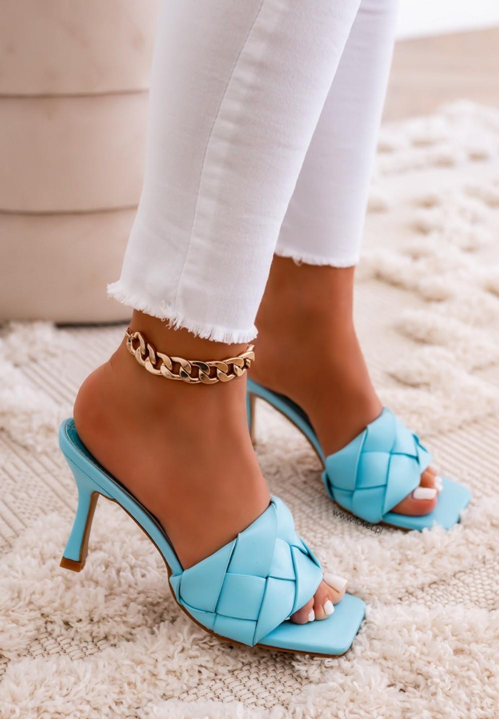 Klapki Plecione Niebieskie Kenza Heels