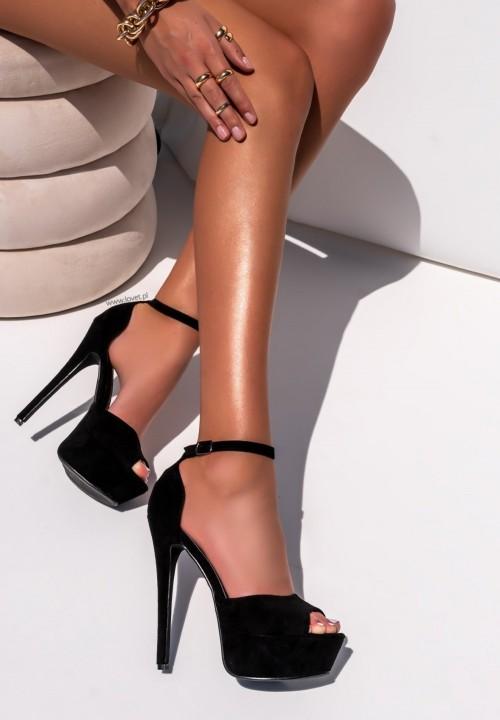 Sandały Szpilki na Platformie Zamszowe Czarne Alexa