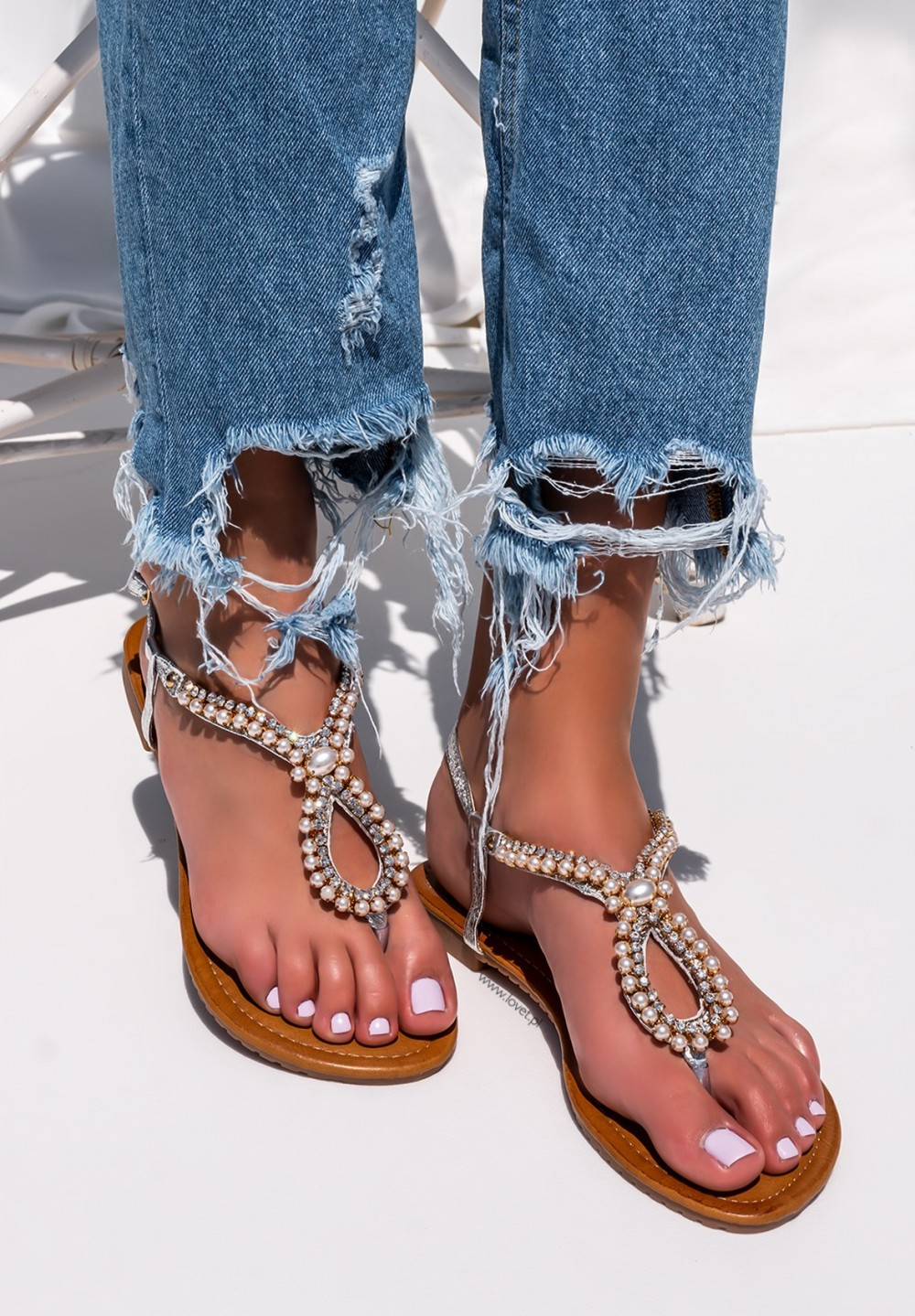 Sandały Japonki z Perełkami Srebrne Hannah