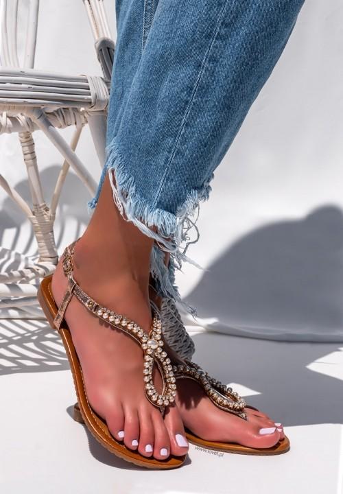 Sandały Japonki z Perełkami Różowe Złoto Hannah