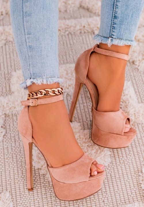 Sandały Szpilki na Platformie Zamszowe Różowe Alexa