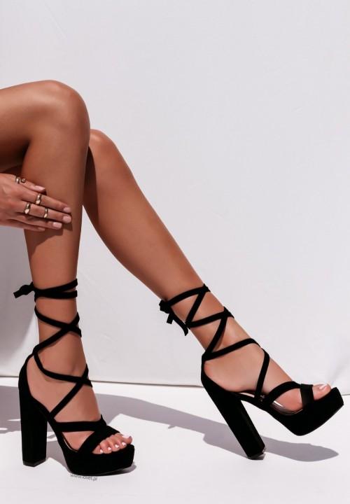 Sandały Na Słupku Platformy Czarne Justines