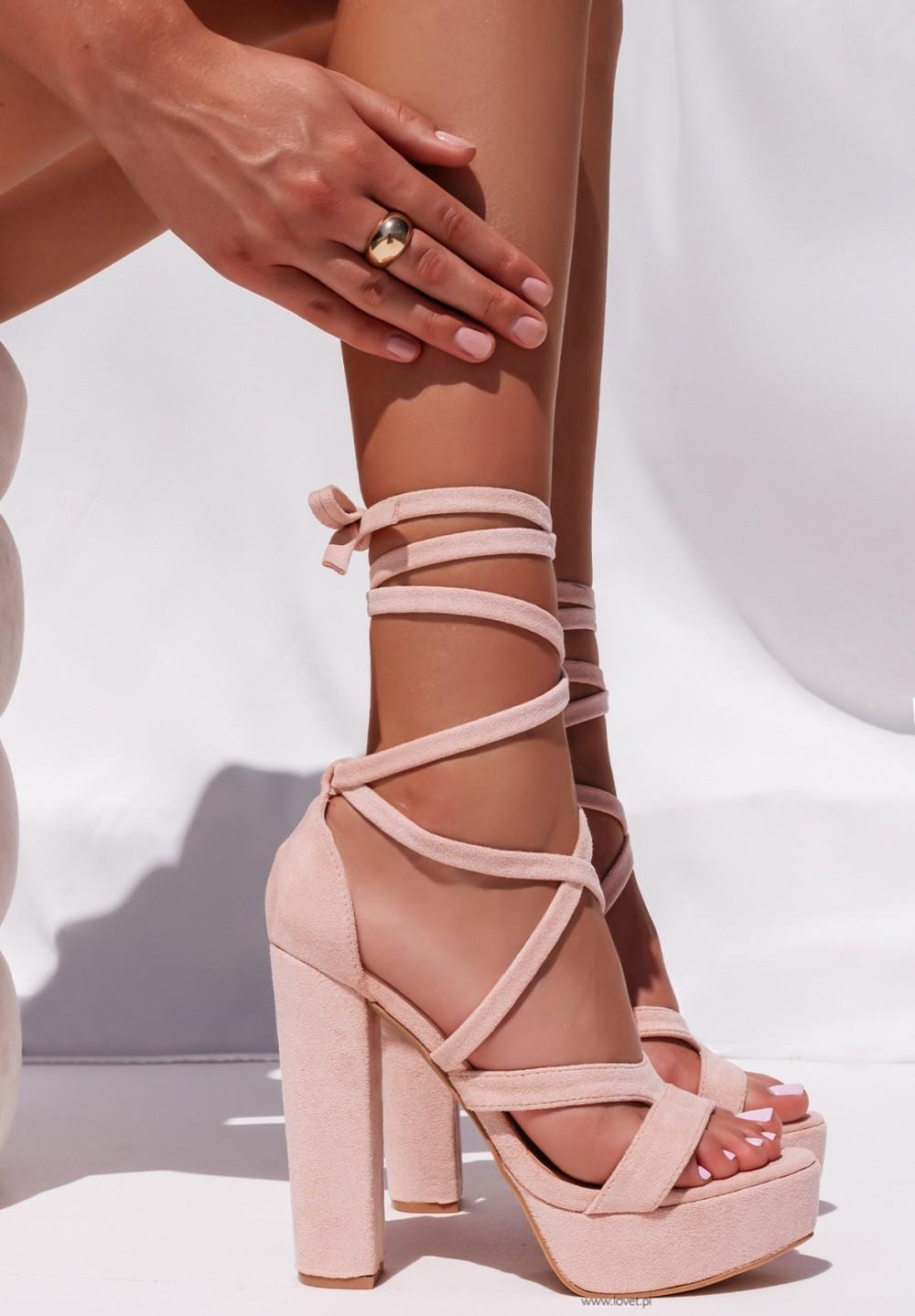Sandały Na Słupku Platformy Różowe Justines