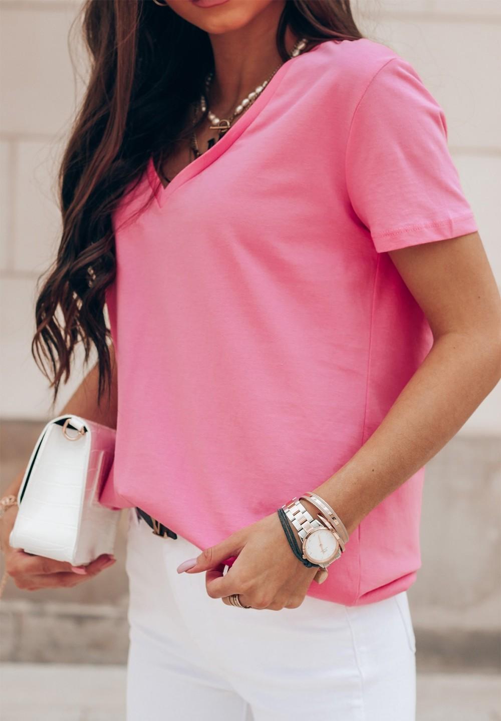 T-shirt Ciemno Różowy Classic New