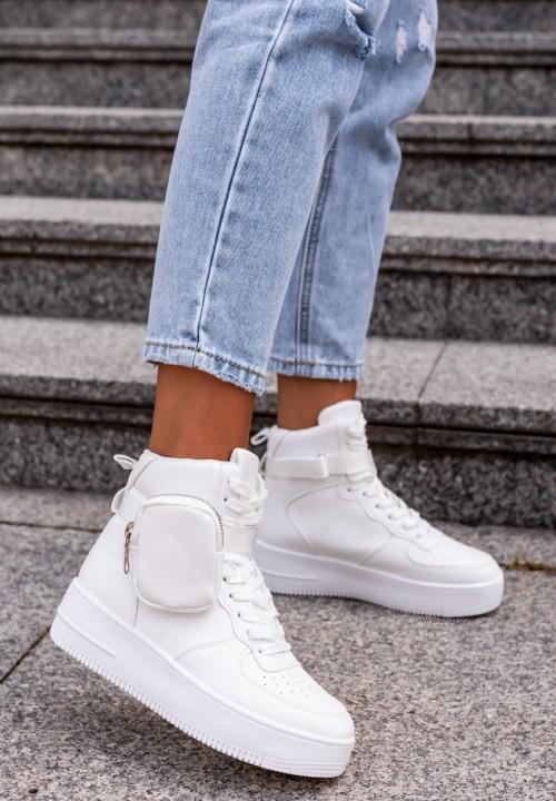 Trampki Sneakersy z Kieszonką Białe Raoni
